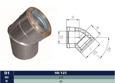 Alu/Alu insulated elbow 45° D80/125