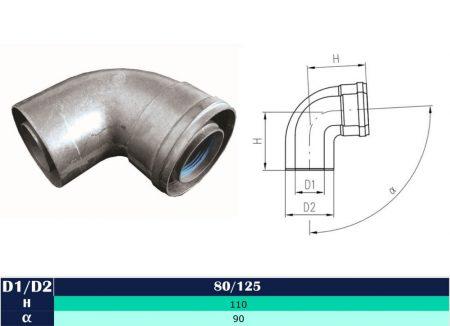 Alu/Alu elbow 90° D80/125