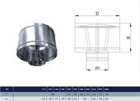 INOX deflektor D140 (gravitációs)