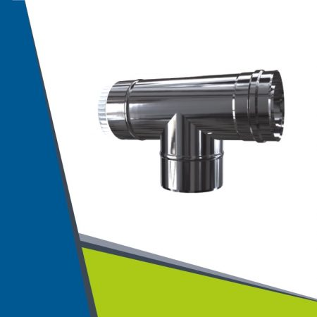 INOX/INOX insulated T-pipe 87° D60/100
