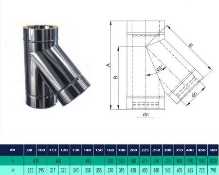 INOX/INOX szigetelt T-idom 45° D200/260 (gravitációs)