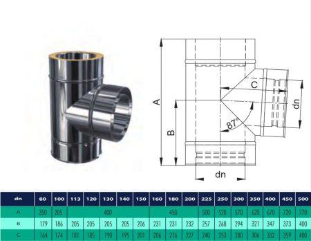 INOX/INOX szigetelt T-idom 90° D200/260 (gravitációs)