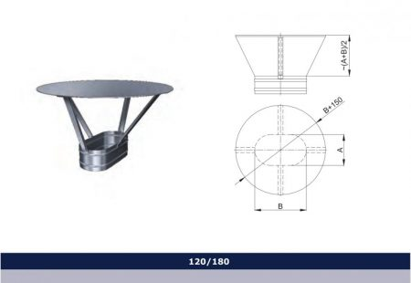 INOX oval rain cap D120x180
