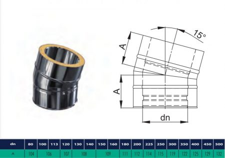 INOX/INOX insulated elbow 15° D200/260