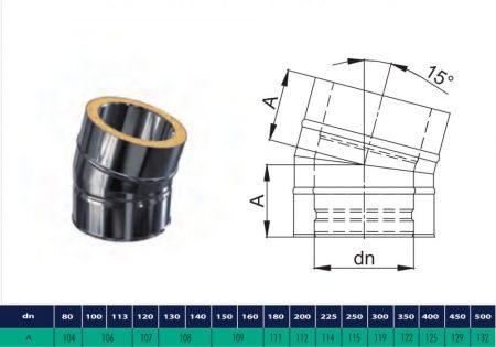 INOX/INOX szigetelt könyök 15° D225/285 (gravitációs)