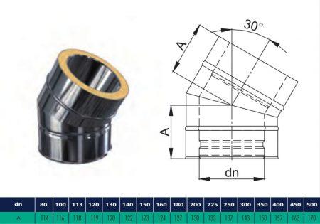 INOX/INOX szigetelt könyök 30° D200/260 (gravitációs)