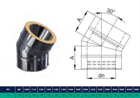 INOX/INOX szigetelt könyök 30° D225/285 (gravitációs)