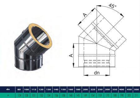 INOX/INOX szigetelt könyök 45° D200/260 (gravitációs)