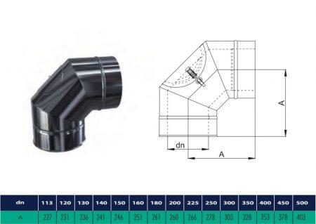 INOX/INOX szigetelt könyök 90° tisztító nyílással D200/260 (gravitációs)