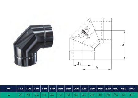 INOX/INOX szigetelt könyök 90° tisztító nyílással D225/285 (gravitációs)