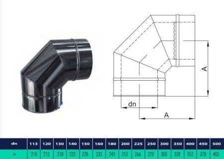 INOX/INOX szigetelt könyök 90° D250/310 (gravitációs)
