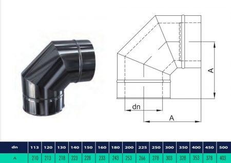 INOX/INOX szigetelt könyök 90° D225/285 (gravitációs)