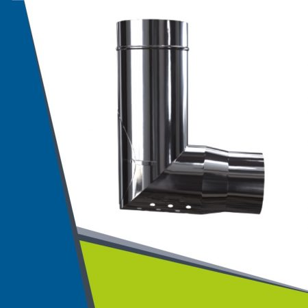 INOX/INOX concentric transitional air intake elbow 93° D100/150
