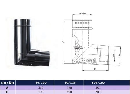 INOX/INOX concentric transitional air intake elbow 93° D80/125