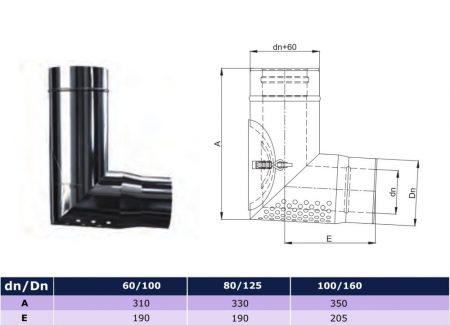INOX/INOX levegő beszívó, átmeneti idom, 93° D80/125 D80/140