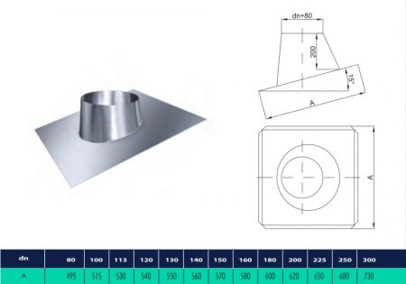 INOX roof flashing with the inclination angle from 5°-20° (D200)
