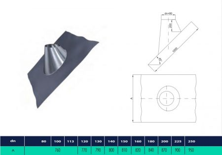 INOX roof flashing with lead sheet. The inclination angle from 35°-50° (D190)
