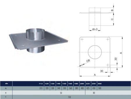 INOX rögzíthető kürtőfedél D500 (gravitációs)