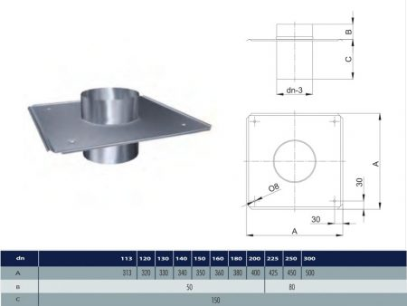 INOX roof plate D130 (gravitation)