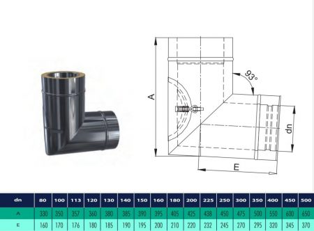 INOX/INOX insulated elbow with revision 93° D120/180