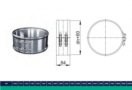 INOX/INOX szigetelt összefogó dupla csőbilincs D200/260