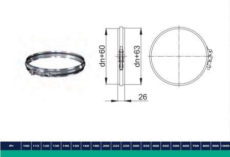 INOX/INOX szigetelt összefogó csőbilincs D225/285