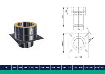 INOX/INOX szigetelt kéménymagasítás talpidoma D200/260 (gravitációs)