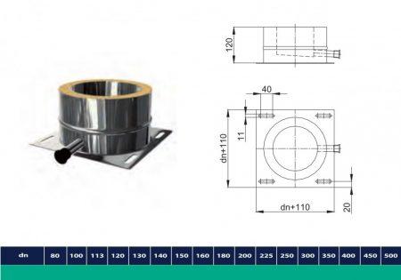 INOX/INOX szigetelt talpidom kondenz kivezetéssel D225/285 (gravitációs)