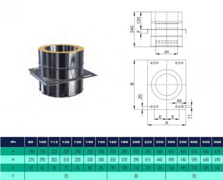 INOX/INOX szigetelt köztes tehermentesítő idom D225/285