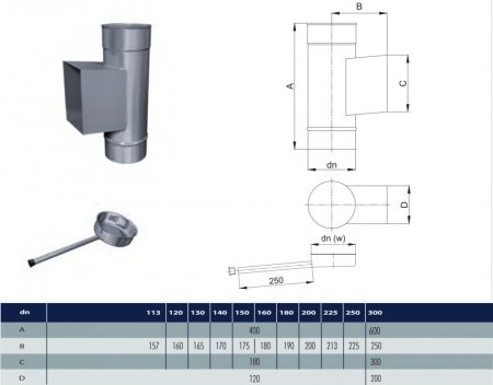 INOX pipe with revision and condensate collector D130 (gravitation)