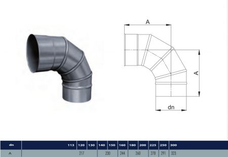 INOX adjustable elbow 90° D225 (gravitation)