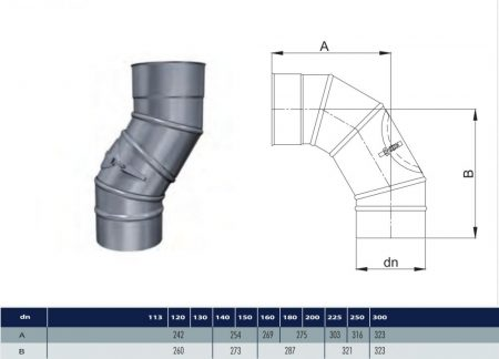 INOX adjustable elbow with revision 90° D130 (gravitation)