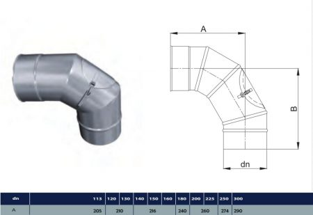 INOX elbow with revision D500 (gravitation)