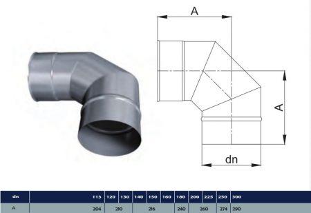 INOX elbow 90° D500 (gravitation)