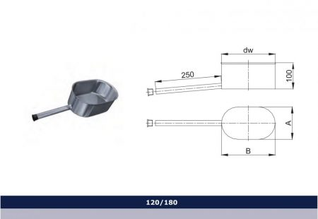 INOX oval base with condensate collector D120x180