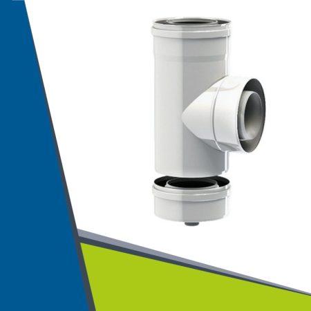 PPs/Alu ellenőrző T-idom mérőponttal D100/150