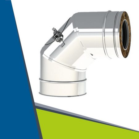 PPs/INOX insulated elbow with revision 93° D80/130