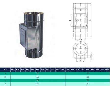 INOX/INOX szigetelt cső tisztító idom D200/260 (gravitációs)