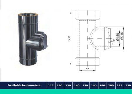 INOX/INOX szigetelt cső kör alakú huzatszabályozóval D200/260 (gravitációs)