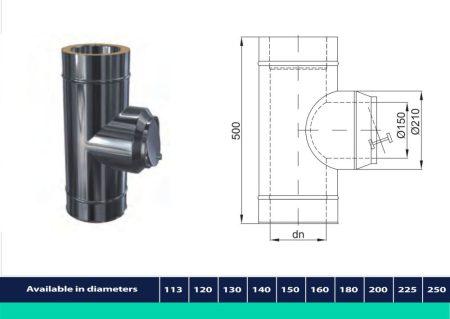 INOX/INOX szigetelt cső kör alakú huzatszabályozóval D225/285 (gravitációs)