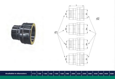 INOX/INOX insulated reducer from twin-wall to twin-wall D113/173