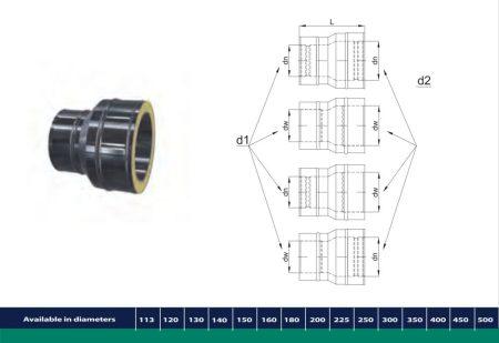 INOX/INOX szigetelt Redukciós idom egy méretlépcső áthidalására D200/260 (gravitációs)