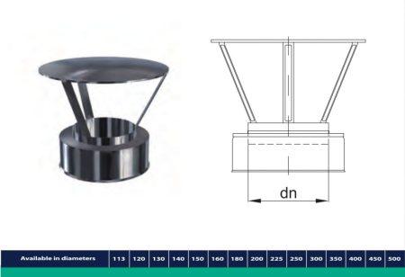 INOX/INOX szigetelt kémény kalapidom D225/285