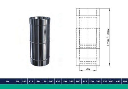 INOX/INOX szigetelt teleszkópikus cső 450-650mm D200/260 (gravitációs)