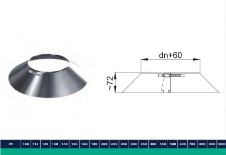 INOX/INOX szigetelt esővédő takaró gallér D300/360