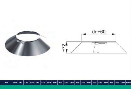 INOX/INOX szigetelt esővédő takaró gallér D225/285