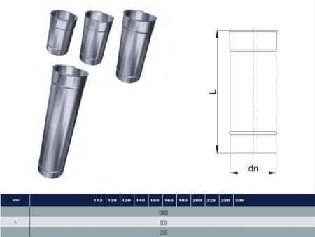 INOX cső 1000mm D150 (gravitációs)