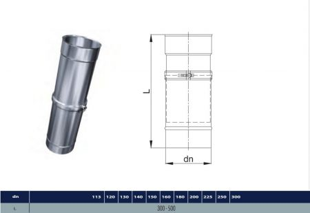 INOX telescopic pipe D180 (gravitation)