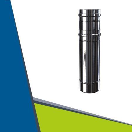 INOX/INOX insulated telescopic pipe 470-650 mm D80/125