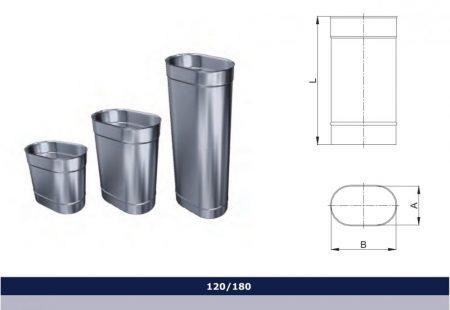 INOX oval pipe 500 mm D120x180